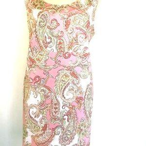 Jones New York Signature Pink Paisley Sheath Dress